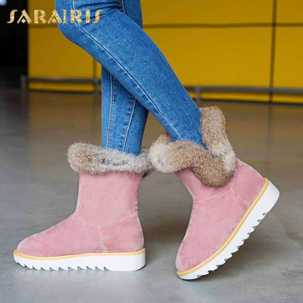 Office & School Supplies Sarairis 2018 Fashion Large Size 34-43 Warm Real Fur Womens Shoes Woman Flat Snow Boots Woman Winter Boots Female