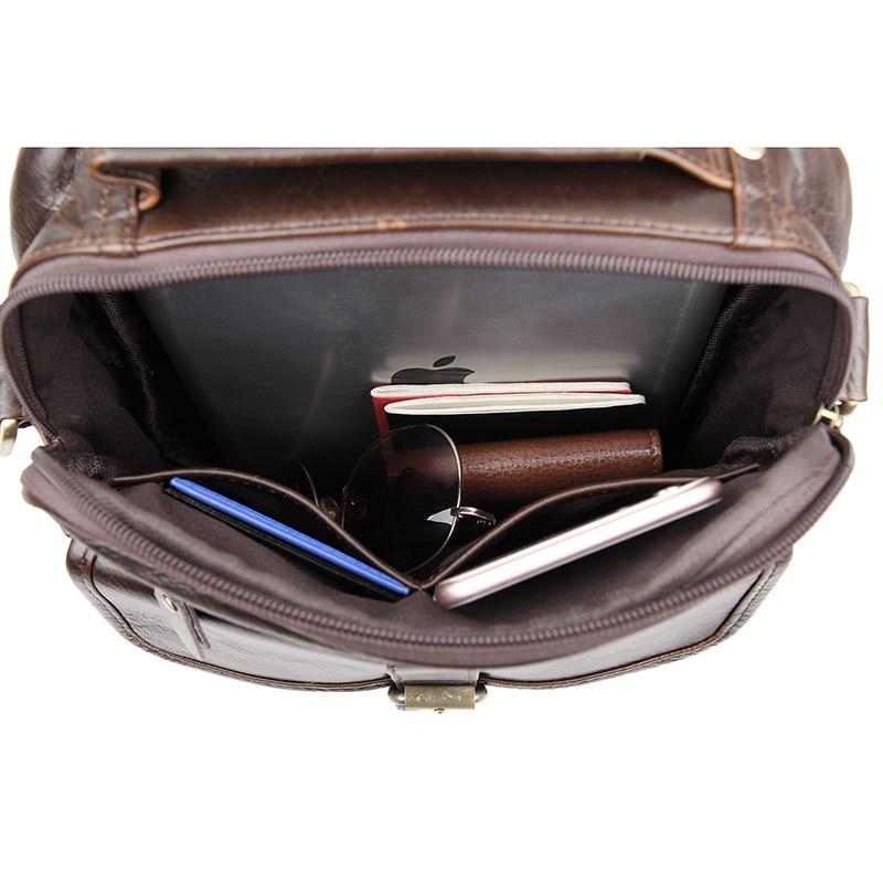 Hommes Messenger En M7141 De Garantie Chocolat Petit 100 Sacs Peau Cuir Real Véritable Vache Cru Wp87wq86P