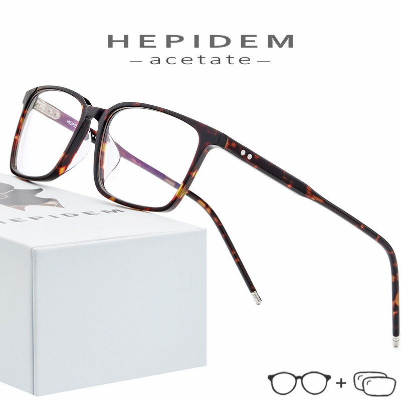 Acetate Prescription Glasses Frame Men Square Nerd Eyeglasses 2019 New Male Myopia Optical Frame Korean Clear Spectacles Eyewear