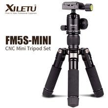 XILETU FM5S aluminium blat statyw lekki podróży stojak Mini statyw z 360 stopni głowica kulowa lustrzanki DSLR aparat cyfrowy