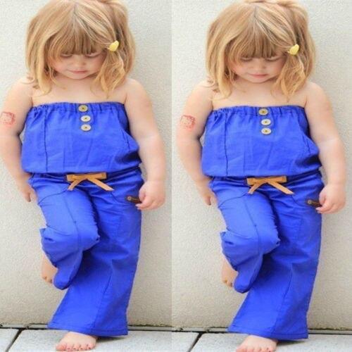2018 New Estate Bambini Blu Pagliaccetti Del Bambino Della Ragazza Bandeau Parte Superiore Del Tubo Pezzo Corsetto Cintura Pantaloni Bambino One-pieces Tuta Outfits