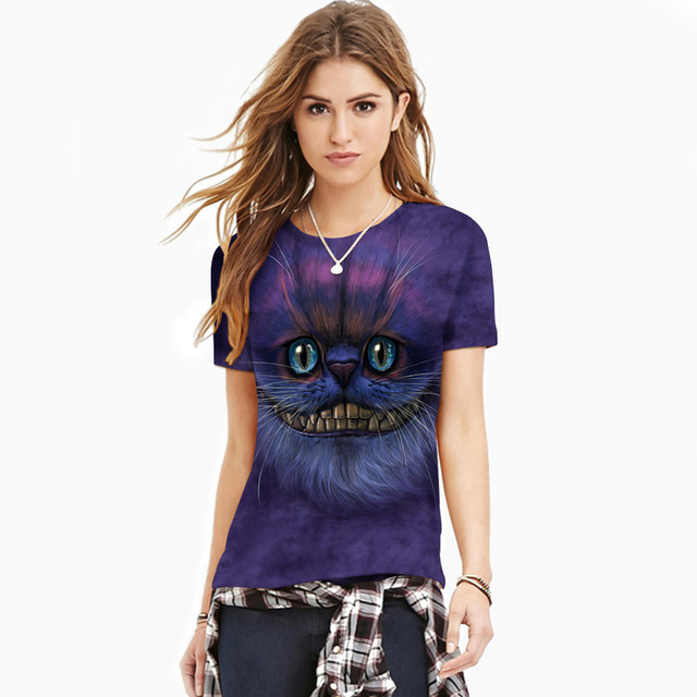 Amazing Design Fashion Cat 3D Print Tops Tees Women Plus Size 14 Styles Ladies T Shirt Hip Hop T-shirts Camiseta Ropa Mujer