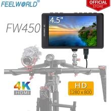 """Feelworld Monitor de campo para cámara DSLR FW450, 4,5 """", IPS, 4K, HDMI, 1280x800 HD, portátil, LCD, con campo de verificación de enfoque de máximo"""