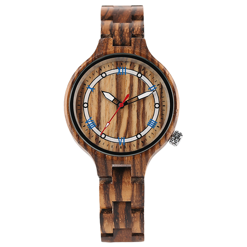 Creative Entire Zebra Wood Watch Casual Bamboo Bracelet OL Women Ladies Dress Wristwatch Simple Wooden Clock Gifts for Female fashion bamboo wood watch women creative analog quartz sport wristwatch ladies handmade maple wooden watches relojes mujer gifts