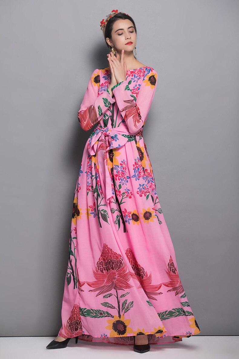 Qualité Floral Maxi Femmes Piste Parti Mode Haute Imprimé Robe D405 Rose Longues Boho Automne 2018 Manches Conception De fdRHq1