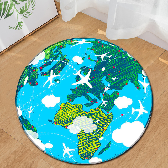 Moon Round Carpets Kids Room Printed Earth Planets Mat Anti Slip Circular Floor Rugs Computer Chair Mats Decor New Year
