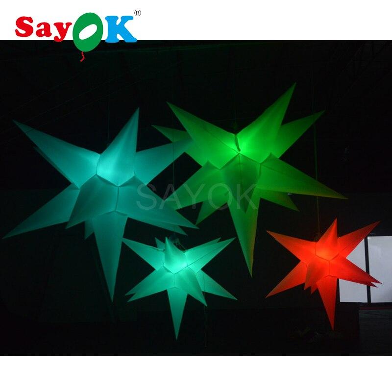 Светодио дный надувной шар звезды украшения для праздников, события, вечеринок с светодио дный RGB света (1,5/2 м, 11 Спайк)