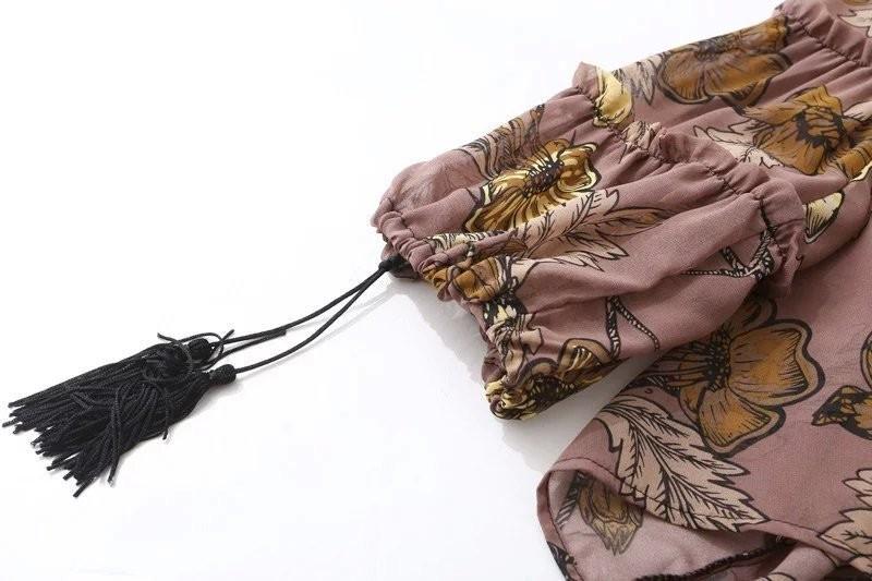 women dress Autumn winter long sleeve ruffle chiffon dress Vintage loose short dress Boho floral print tassel vestidos 22