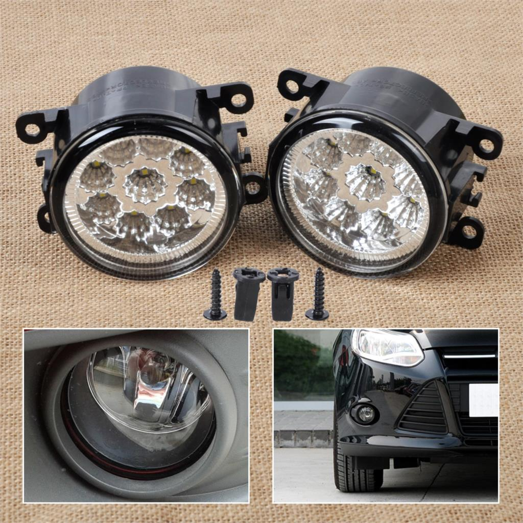 DWCX 2x 55W 9-LED Round Front Right/Left Fog Lamp DRL Daytime Running Driving Lights 4F9Z-15200-AA for Ford Focus Acura Honda led front fog lights for honda cr v pilot 2012 2013 2014 car styling round bumper drl daytime running driving fog lamps