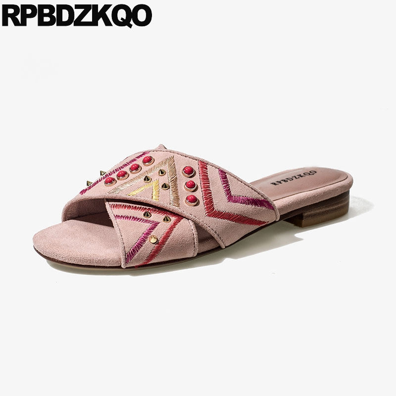Open Toe Embroidery Shoes White Women Sandals Flat Casual Suede Stud Designer Summer Pink 2018 High Quality Slides Rivet Luxury