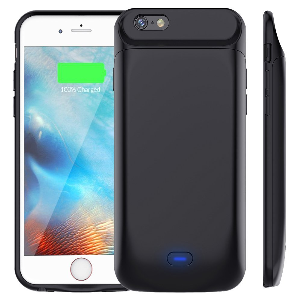 3200 5000mAh Double use time Magnetic Back TPU Bumper Power Pack Bank Battery Charger Case Cover For iphone 6 6S 7 8 Plus Black|Battery Charger Cases| |  - title=