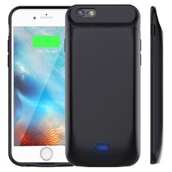 5000mAh Double use time Magnetic Back TPU Bumper Power Pack Bank Battery Charger Case Cover For iphone 6 6S 7 8 Plus Black