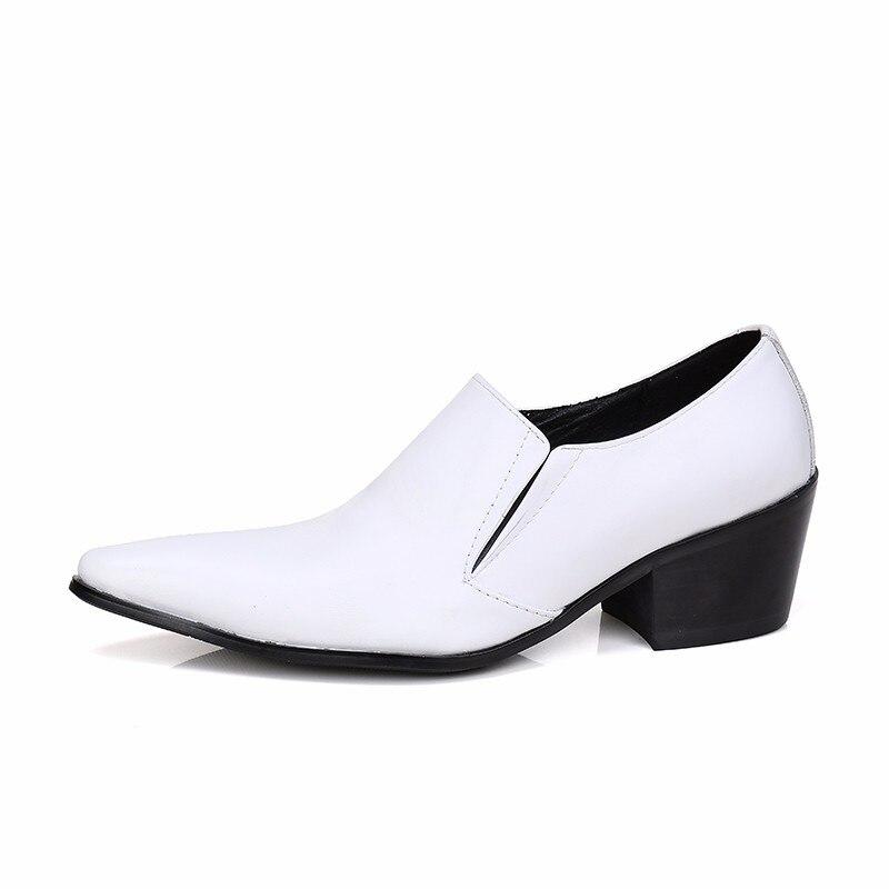 Christia bella novo clássico branco couro genuíno dos homens sapatos de casamento plus size apontou toe vestido sapatos de salto médio sapatos de negócios - 4
