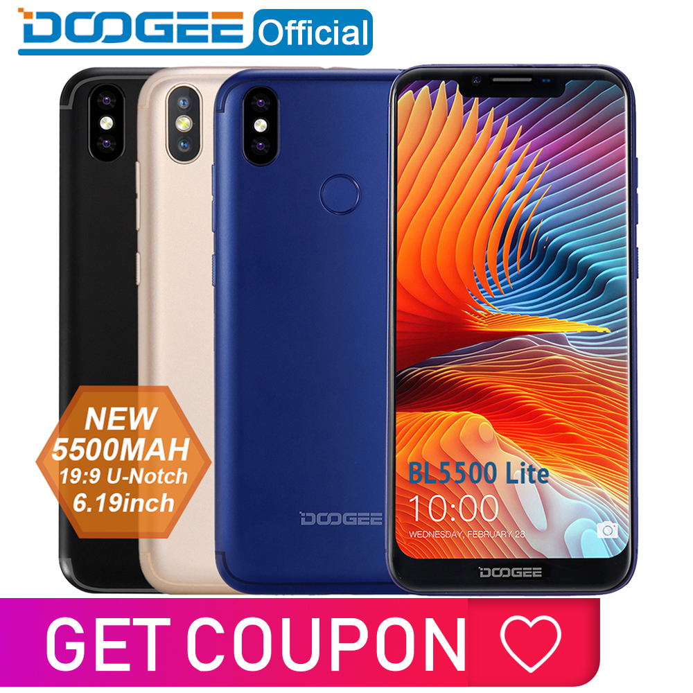 DOOGEE BL5500 Lite u-müsse Smartphone 6.19 pouces MTK6739 Quad Core 2GB RAM 16GB ROM 5500mAh double SIM 13.0MP Android 8.1