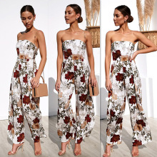 Sexy off shoulder Strapless women jumpsuit romper Elegant Floral print jumpsuit long Summer wide leg lady playsuit overalls 2019