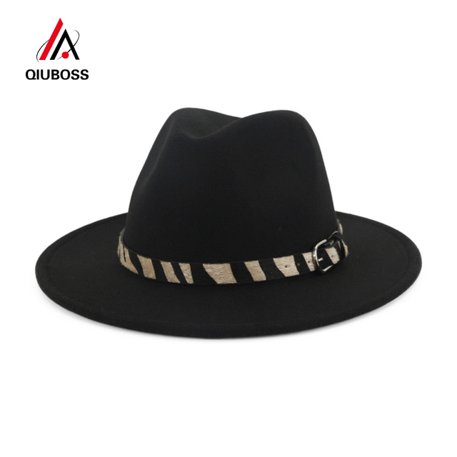 c2a5550eba0 QIUBOSS Cheap Fashion Handmade Wool Felt Wide Brim Fedora Hats with Zebra- stripe Belt Men