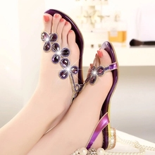 2016 summer sandals rhinestone flat-bottomed female sandals flip-flop women's low-heeled shoes flower size of leather sandals