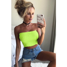 484ed2be29be8 Women Cropped Tanks Fluorescent green Off Shoulder Strapless Party Camis  High Elastic Shirred Slash Neck Crop