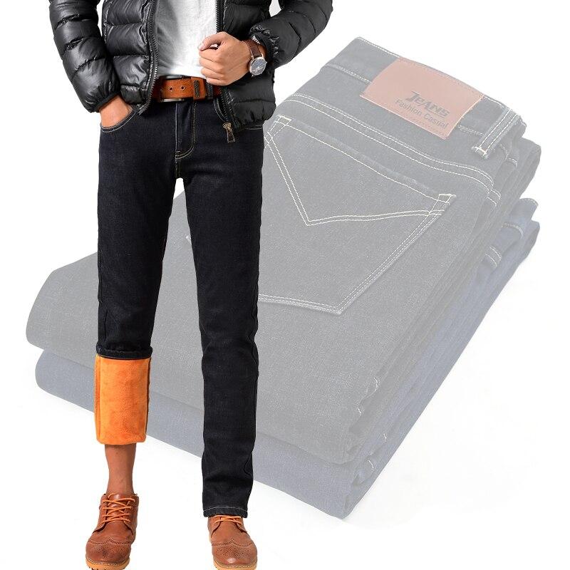 Odinokov Winter Fleece Men Jeans Slim Fit Men's Fashion Cotton Denim Jeans Casual Pants Warm For Snow Stretch Black blue 2 color men s cowboy jeans fashion blue jeans pant men plus sizes regular slim fit denim jean pants male high quality brand jeans