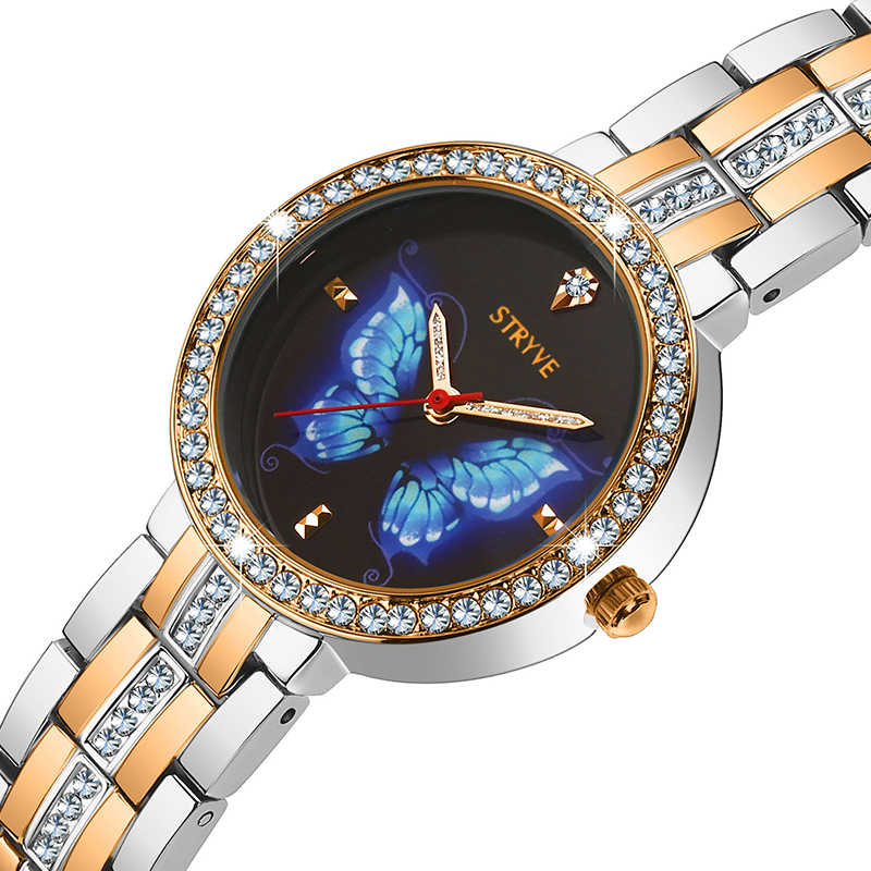 Stryve New Designer Ladies Watch Alloy Fashion Butterfly Crystal Dial Waterproof Quartz Luxury Women Watches With Free Bracelets