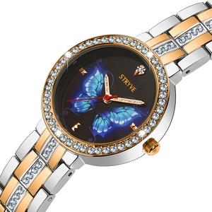 Image 1 - Stryve Neue Designer Damen Uhr Legierung Mode Schmetterling Kristall Zifferblatt Wasserdicht Quarz Luxus Frauen Uhren Mit Freies Armbänder
