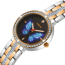Stryve Reloj de lujo para mujer, de aleación, con esfera de cristal de mariposa, resistente al agua, de cuarzo, pulseras gratis
