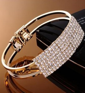 New Fashion Elegant Women Bangle Wristband Bracelet Crystal Cuff Bling Lady Gift Bracelets & Bangles