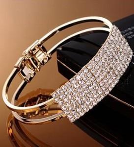 8c8f94842 Nueva moda elegante brazalete de las mujeres pulsera brazalete de cristal  Bling señora regalo Pulseras y brazaletes