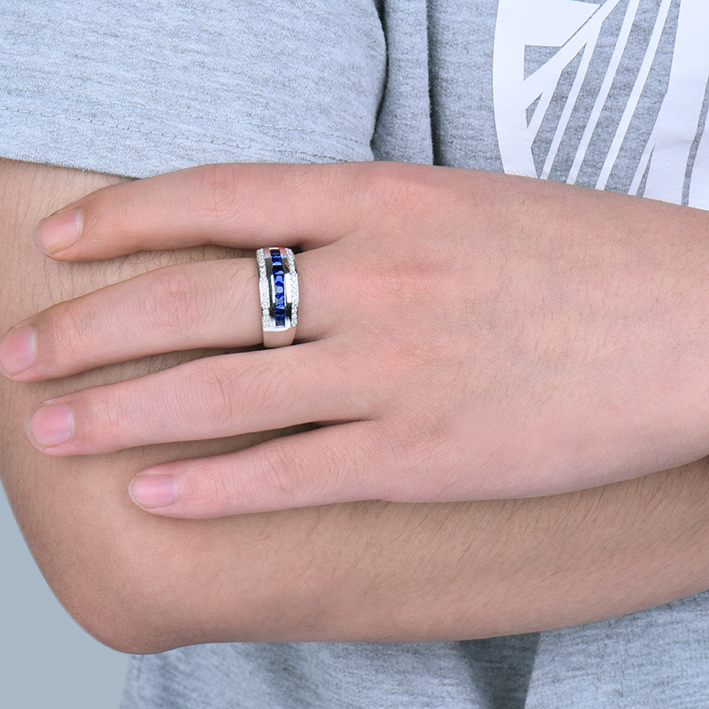 Solid 14Kt White Gold Men Band Natural Blue Sapphire Diamond