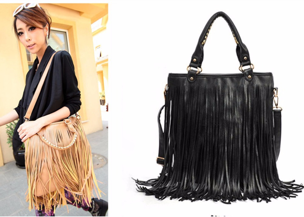 ФОТО 2016 Fashion bags women Tassel handbag nubuck leather bags messenger bag lady leisure locomotive shoulder diagonal package tote