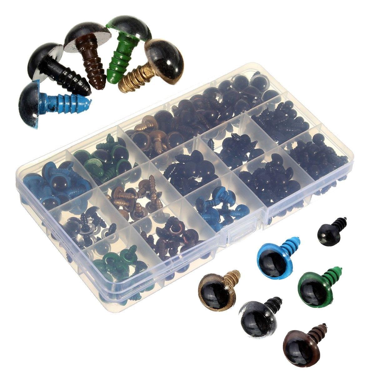 264 pcs DIY Plástico Olhos Bonecas Part6-12mm Preto 10/12mm Colorido Segurança Olhos Para Urso De Pelúcia Boneca Animal artesanato Bonecas Acessórios