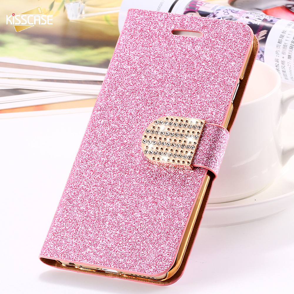 KISSCASE For iPhone 5S Case Glitter Bling Leather Cases For iPhone 5 5S SE 6 6s 7 Plus Stand Wallet Cover For iPhone</font