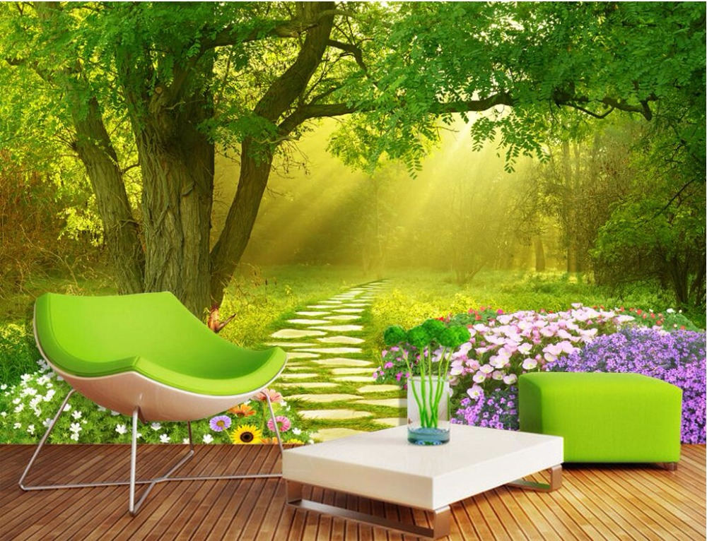 Custom mural 3d wallpaper flowers butterflies forest home for Decor mural 3d