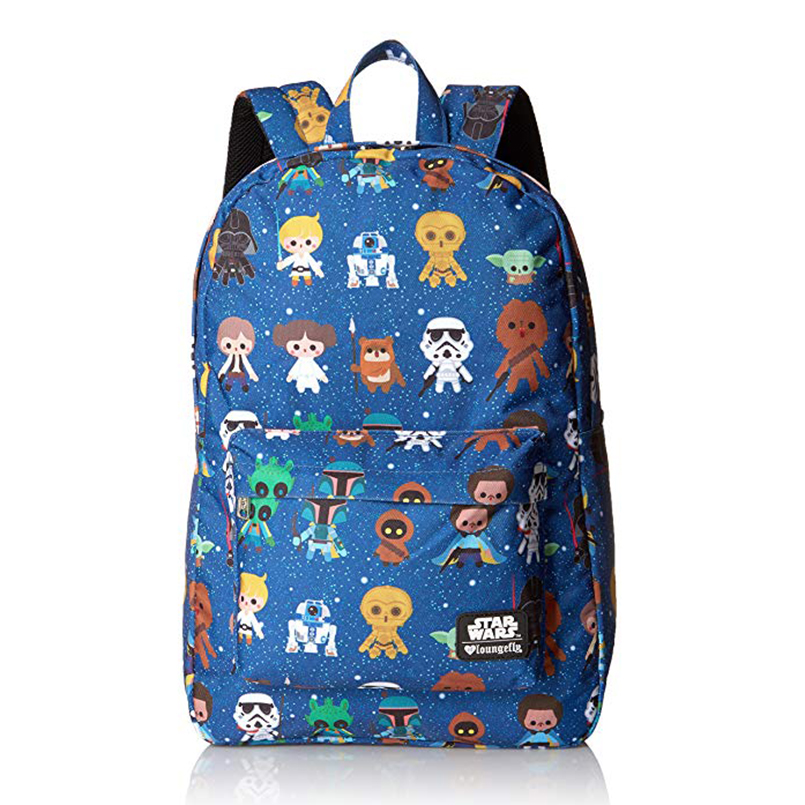 7da41b4a9413 US $14.23 58% OFF|Star Wars Backpack Han Solo Chibi Character Print Baby  Character Aop Double Shoulder Bag-in Backpacks from Luggage & Bags on ...