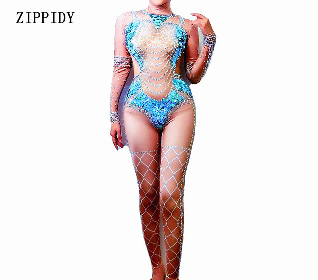 Big Blue Sequins Nude Jumpsuit Women Mermaid Leggings Crystals Outfit Party  Costumes BodySuit Rhinestones Stretch Rompers b3fa8f687c32