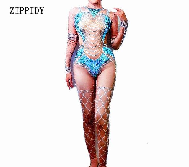 4758c24d1c74 Big Blue Sequins Nude Jumpsuit Women Mermaid Leggings Crystals Outfit Party  Costumes BodySuit Rhinestones Stretch Rompers