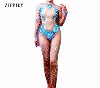 Big Blue Sequins Nude Jumpsuit Women Mermaid Leggings Crystals Outfit Party Costumes BodySuit Rhinestones Stretch Rompers