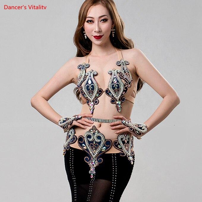 Роскошные профессиональные сделал сценическая Одежда для танцев Для женщин живота Одежда для танцев пикантные вышитые мешок хип длинное п