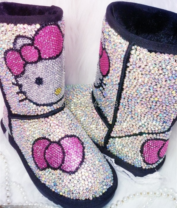 2016 Winter Genuine Leather Luxury Handmade Rhinestones Hello Kitty Snow Boots Women Warm Fur Boots Big Size EU35~41