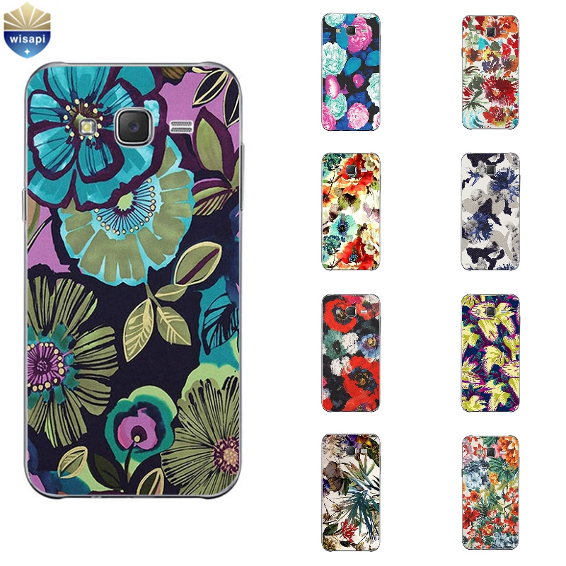 Phone Case For Samsung Galaxy J3 J5 J7 (2016) Back Cover Grand Prime G530 Shell Soft TPU Cellphone Abstract Flowers Design