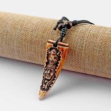 1 шт. искусственная кость яка зуб/подвеска «зуб» ожерелье вырезание вождей племен ChieftainResin Зуб Амулеты воск хлопок шнур ожерелье в этническом стиле