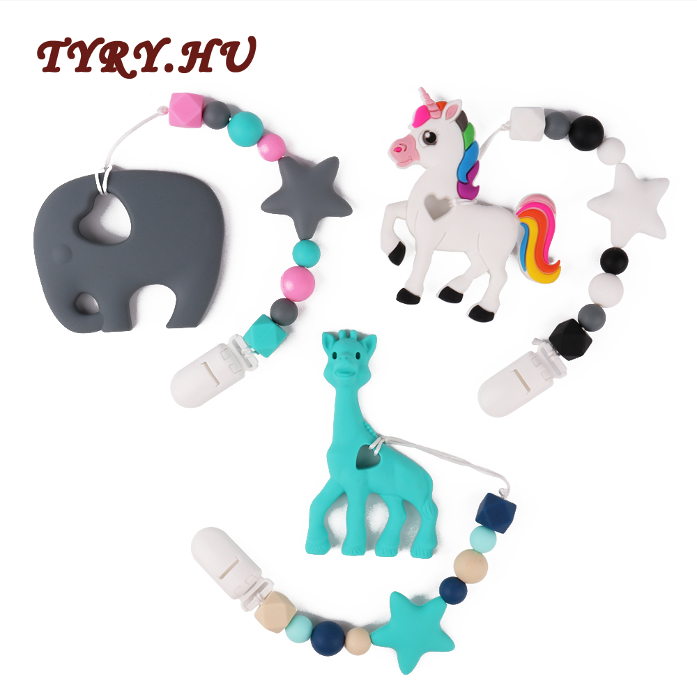 TYRY.HU 1PC Elephant Giraffe Horse Baby Teething Necklace Materials Food Grade Silicone Teether Beads BPA Free For Baby Gift Toy(China)