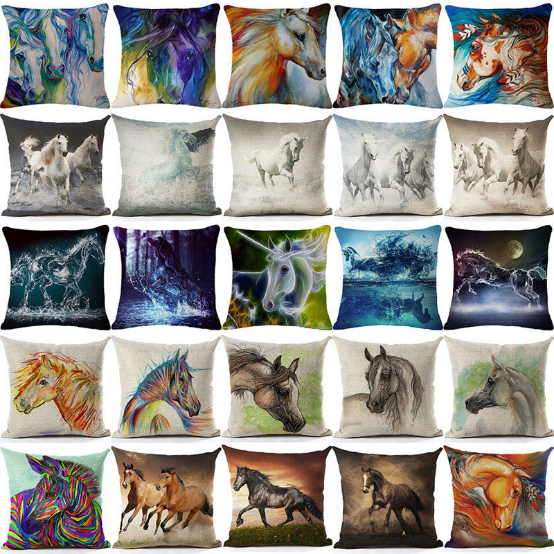 Nordic Cushion Cover horse Christmas Gift for Children Pillow Cover Sofa Cushion Cover Home Decorative Pillowcase car-covers