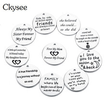 Ckysee 5Pcs/lot 20mm Stainless Steel Letter Word Charms For Bracelet Diy Jewelry Making Metal Round Floating Pendant
