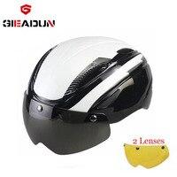 2017 nuovo casco da bicicletta con lente antivento casco taglia L Casco Da Bicicletta ultralight Mountain bike Su Strada casco