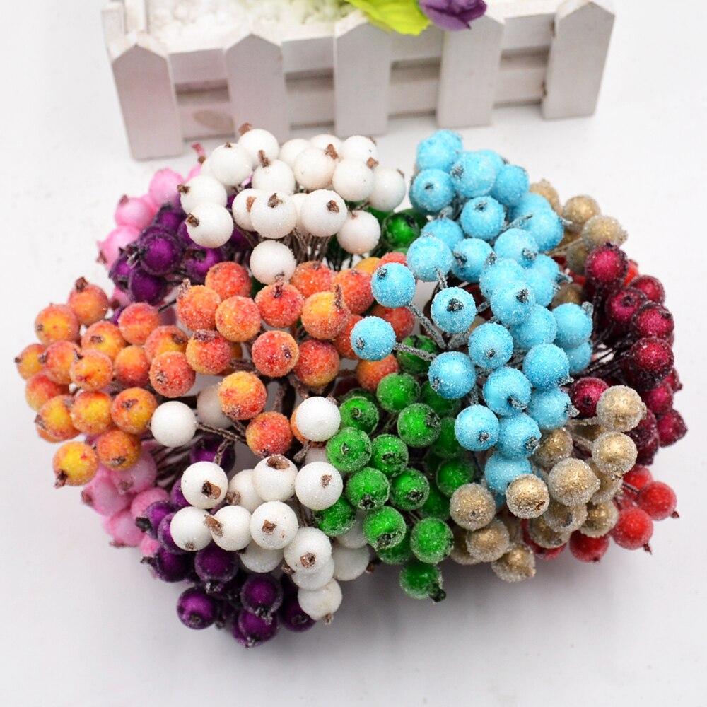 20 шт./лот 40 глав помпоном тычинки ягодный искусственный цветы для свадьбы Рождественское украшение DIY ремесло венок записки поставки