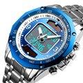 Роскошные брендовые модные солнечные спортивные часы для мужчин, водонепроницаемые кварцевые мужские часы с двойным дисплеем, аналоговые ...