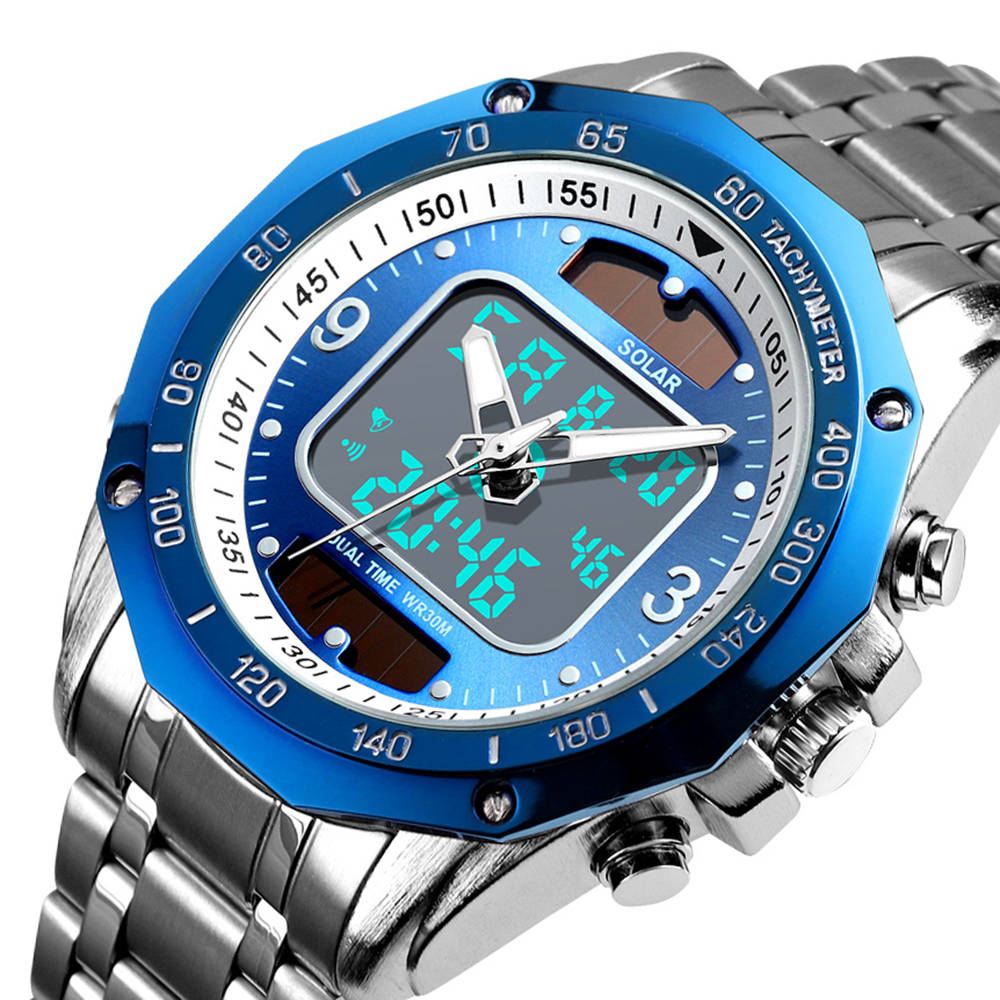 Luxury Brand Fashion Solar Sport Watch Men Clock Waterproof Quartz Men Watches Dual-Display Analog Digital Watch Relojes Hombre