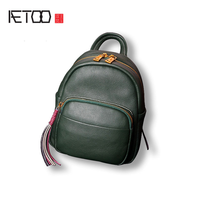 AETOO The first layer of leather mini backpack leather female shoulder bag new tassel female bag shoulder bag aetoo first layer of leather shoulder bag female bag korean version of the school wind simple wild casual elephant pattern durab