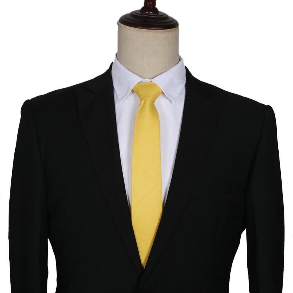 d568c7023cf5 HOT sale New Mens Slim Skinny Solid Color Plain Satin Tie Necktie Gold  Russia Spain Free